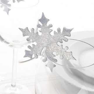 Shimmering Snowflake - Silver Place Cards For Glasses (10)